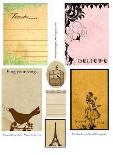 printable cards, vintage free printables, smash book, vintage crafts, inspir printabl, printabl journal, vintage inspired, old books, vintage journal cards