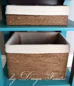Make baskets out of cardboard boxes and twine. Great idea.