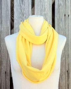 Infinity Scarf SOLE GRANDE Summer Spring Loop Scarf in LEMON Zest Yellow #HAF #HAFshop #Handmade #Artist #fashion