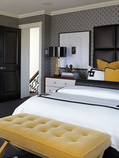 bedroom color scheme - black, white, gray, and yellow.