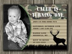 Camo/Hunting Birthday Invitation  FREE thank by DazzleExpressions, $13.00