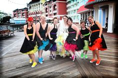 Colorful wedding party - Complete with converse and matching bride petticoat!