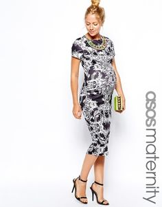 ASOS Maternity Bodycon Dress In Baroque Print With Necklace $76.22