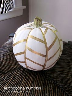 Gold and White Herringbone Pumpkin