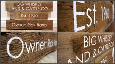barnwood built - Custom wood signs; each letter is hand etched and painted on old reclaimed barn wood.