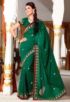 Green Faux Georgette Saree with Blouse @ $185.61