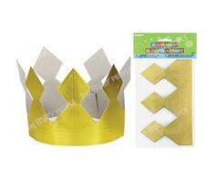 """Prince crown"" for boys party favour bags - Gold, Cardboard"