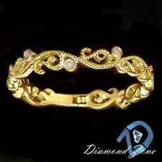 ART NOUVEAU VINTAGE YELLOW GOLD DIAMOND FILIGREE WEDDING BAND ESTATE RING DECO, $175.00