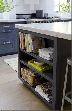 Charcoal + whitewashed floors + island storage