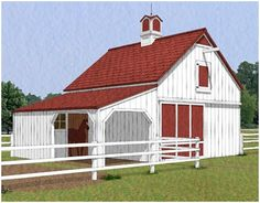 The Chestnut Three-Stall Horse Barn has three stalls, a small grooming shelter, a hay loft and a front-to-back alley. It's one of nine different layouth that you can get on one inexpensive set of building at BackroadHome.net. Just click through to see a floor plan.