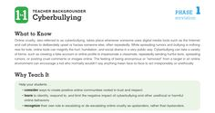 Familiarize teachers with digital citizenship topics such as cyberbullying and Internet safety.