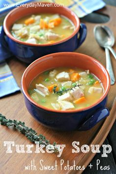 Turkey Soup with Sweet Potatoes and Peas from www.everydaymaven.com #aipaleo