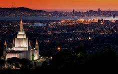 Oakland CA. LDS temple at sunset.
