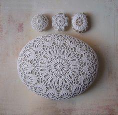 Crochet-Bombed rocks......Crocheted Lace Stone, Large,White, Floral Motif, Light Gray Stone, Handmade