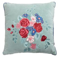 Duck Egg Carolyn Donnelly Eclectic Embroidered Cushion