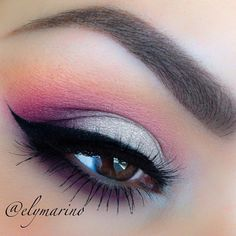 Pink, white, purple eyeshadow. Really pretty.