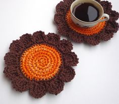 #Crochet #Pumpkin #Orange #Flower #Coasters 2pc by MonikaDesign on Etsy, $12.00 #autumn #thanksgiving #cat