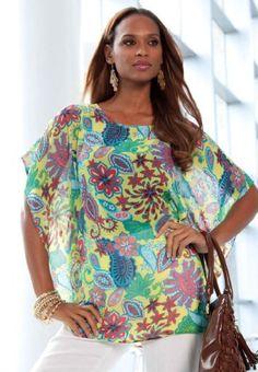 Jessica London Plus Size Printed Poncho-Style Blouse $34.99