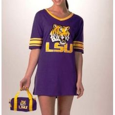 Lsu (Louisianna State) Football Jersey - Nightshirt in a Bag --- http://www.amazon.com/Louisiana-Tigers-Ladies-Football-Jersey/dp/B0031SM0KG/?tag=zaheerbabarco-20