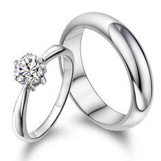 Custom engraved wedding couple ring crystal diamond - $49