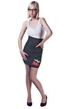 Rockabilly Pencil Skirt  High Waisted with Cherry by Dollydripp, £55.00