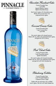 signature drinks, cake vodka, pinnacl cake, vodka drinks, drink recipes