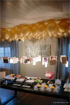 The balloons with the cards or pictures attached....really like the idea for many different uses.