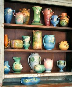 decor, vintag potteri, vintage pottery, polish pebbl, art potteri, roseville pottery, antiqu, rosevill potteri, collect