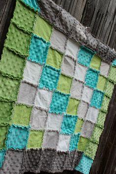 Aqua Green & Gray Rag Quilt Blanket!   Adorable baby boy nursery /boy crib bedding by BabyBazerk, $75.00