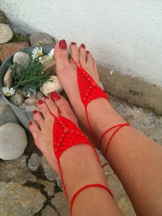Red  Barefoot Sandals with wooden red bead Nude by ArtofAccessory, $15.00