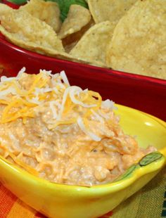 Buffalo Chicken Dip - Serve with chips for a slam dunk appetizer recipe | Five Wooden Spoons