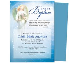 Baby Baptism/Christening Invitations: Printable DIY Angelic Baby Baptism Invitation Template