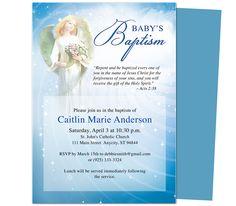 Baby Baptism/Christening Invitations: Printable DIY Angelic Baby Baptism Invitation Template