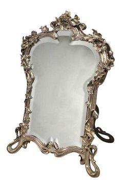 Art glass mirrors on pinterest glass vase 19th for Miroir encadrement metal