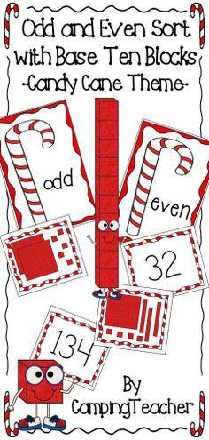 Odd and Even sort with Base Ten Blocks - Candy Cane Theme!