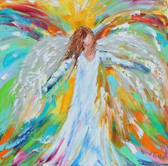 Original oil ANGEL PALETTE KNiFE painting by Karensfineart