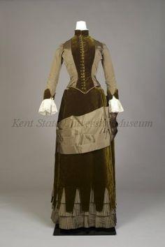 1880s, Olive silk faille and velvet day dress