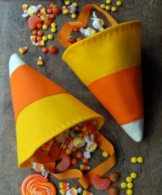 Candy Corn Bag DIY Trick or Treat Bags