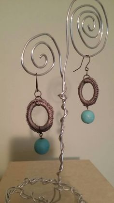 WELCOMING LAURA to the team! || Crochet gray and turquoise dangle earrings by Jewelophile on Etsy.