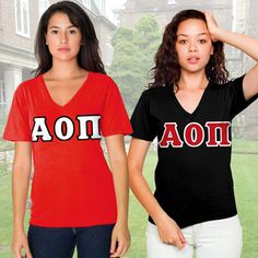 Alpha Omicron Pi Sorority Horizontal V-Neck Package $46.95 #Greek #Sorority #Clothing #AOPi #AlphaOmicronPi