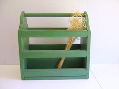 Vintage Wood Magazine Rack / Jadite Green / by RollingHillsVintage, $40.00