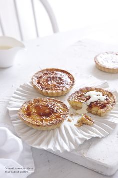 Caramel cream tartlets with almond pastry