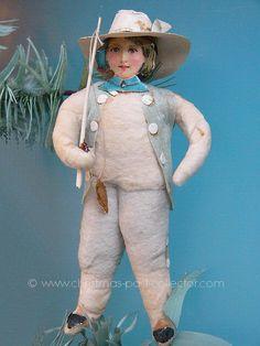 Antique Cotton Fishing Boy Christmas Ornament