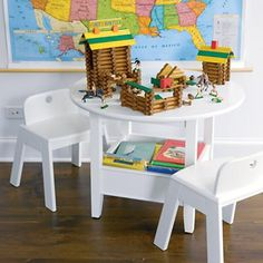 Kids' Play Tables: Kids White Circular Solid Wood Storage Bin Table in Play Tables