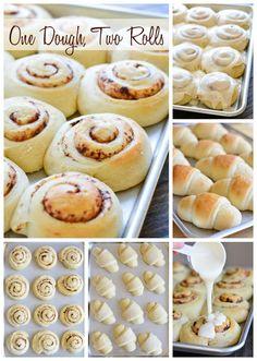 Crescent Rolls & Cinnamon Rolls made from one dough   Garnish & Glaze