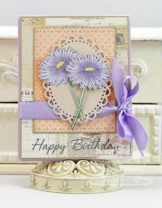 I made this card for my sweet MIL who is celebrating her 81st birthday Monday. I used Die-namics Flower Silhouette Die & Stamp Set and MFT Finishing Flourishes.  Thanks for looking :)