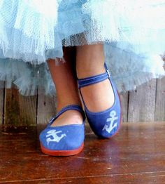 Adorable! White Anchor Ballet Flats by Rakun on Scoutmob Shoppe