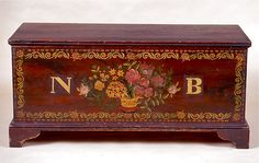 Schoharie Blanket Chest, with  hand painted decorative flowers and trim.