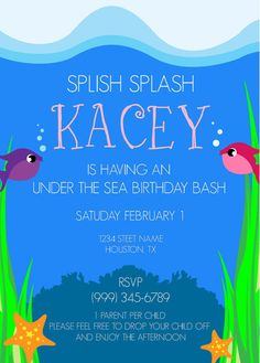 Under the Sea Birthday Party Invitation- Aquarium Theme Birthday Party Invitation
