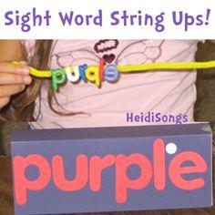 Sight Word String Ups Idea from HeidiSongs